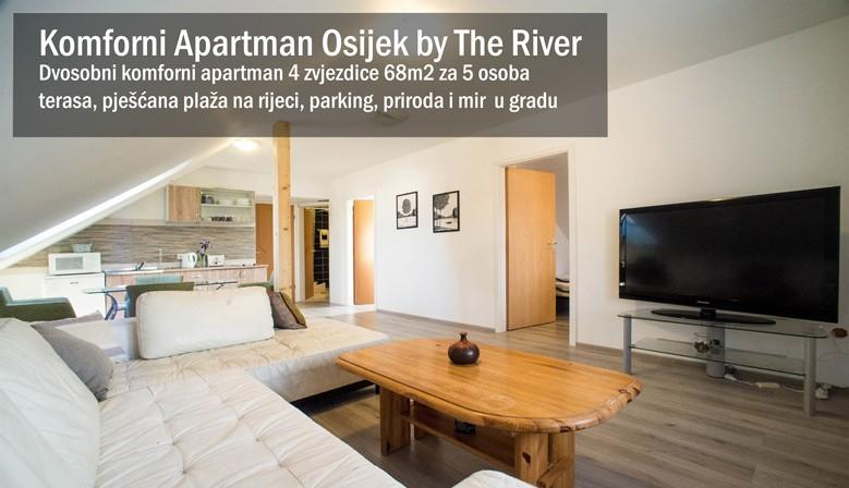 Dvosobni komforni apartman u Osijeku s 4 zvjezdice 68m2