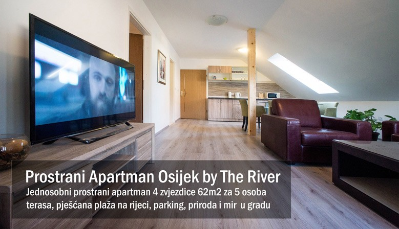 Jednosobni prostrani apartman u Osijeku s 4 zvjezdice 63m2